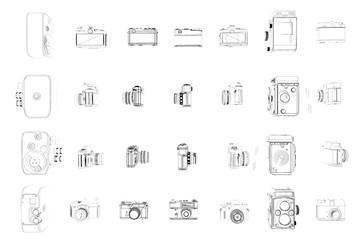 illustration of vintage cameras