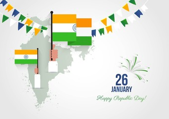 26 january. Indian Republic Day greeting card. Celebration background with  waving flags, map and bunting flags. Vector flat  illustration