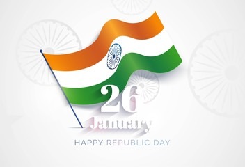 26 january. Indian Republic Day greeting card.Celebration background with realistic waving indian flag. Vector flat illustration