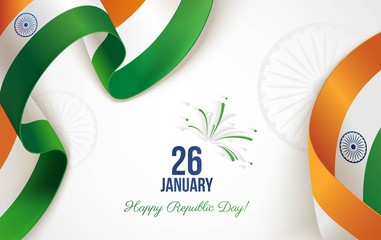 26 january. Indian Republic Day background in national flag color theme. Celebration banner  with curving ribbons and text. Vector illustration