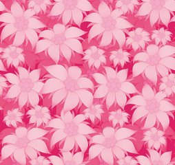 Seamless floral pattern. On a pink background, the flowers are edelweiss, water lily, lotus. For postcard, invitations, textiles, clothes, wrapping paper, wallpaper, interior design of the room.
