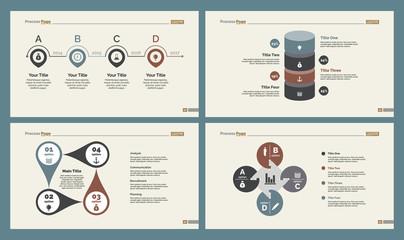 Four Strategy Charts Slide Templates Set