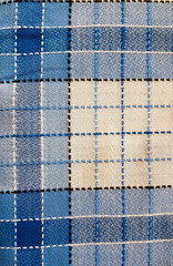 Blue checkered tablecloth texture
