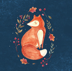 Watercolor illustration with sited fox and floral wreath on dark background