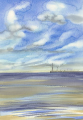 morning by the sea with clouds waves watercolor background