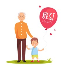 Grandfather and his grandson standing on green lawn with balloon. happy grandparents day design. Vector illustration