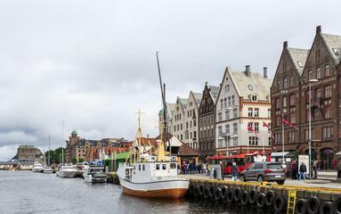Port of Bergen, Norway - Bryggen district  waterfront, series of historic Hanseatic  buildings in Bergen, Norway. Bryggen has since 1979 been on  UNESCO list for World Cultural Heritage sites.