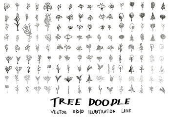 Set of tree doodles vector eps10