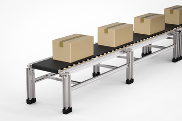 carton boxes on conveyor belt