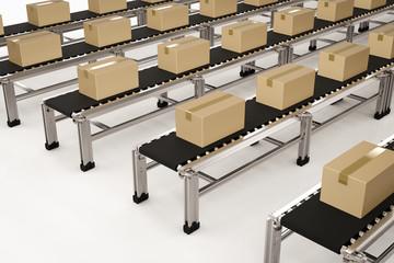 carton boxes on conveyor belts