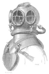Diving Helmet circa 1870. Date: circa 1870
