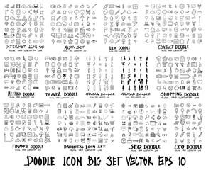 MEGA set of icon doodles of Internet, Media , Idea, Contact, Meeting, Travel, Human, Shopping, Finance, Business, Ecology eps10