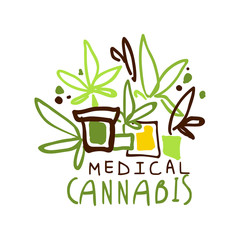 Medical cannabis label, logo graphic template