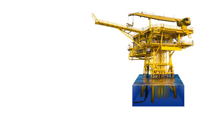 Offshore oil and gas wellhead remote platform produced raw gas condensate then sent to central facility to separate and treat gas, cut away to show detail under water, platform isolate on white.