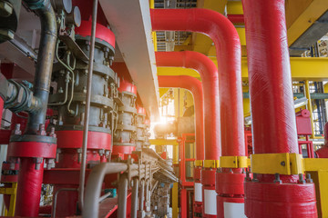 Deluge system of firefighting system for emergency of fire case in offshore oil and gas platform, safety and security system.