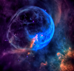 The Bubble Nebula in the constellation Cassiopeia. Elements of this image furnished by NASA