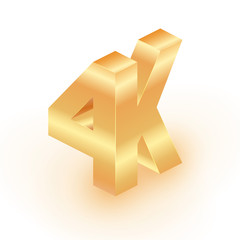 4k Ultra HD 3D format logo with shiny letters