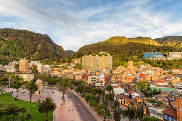 Late afternoon view of Journalist's Park with Monserrate and the candelaria district of Bogota, Colombia.