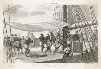 Slaves forced to dance on board ship to keep fit. Date: circa 1830