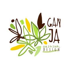 Ganja label original design, logo graphic template