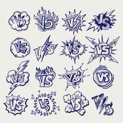 Versus ballpoint pen sketch labels collection, vector illustration