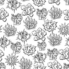 Hand drawn versus seamless pattern. Vector graphic seamless texture