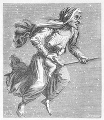 Witch on broomstick  with baby.