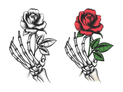 Rose flower in human skeleton hand. Vector bright and silhouette on white background