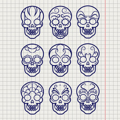 Ballpoint pen mexican skull set on notebook page, vector illustration