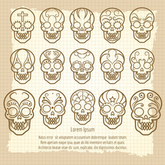 Vintage mexican skull set poster on retro notebook page. Vector illustration