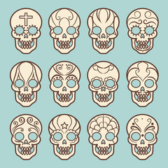 Vintage style mexican skull set on blue backdrop, vector illustration