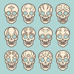 Vintage style mexican skull set on blue backdrop, vector illustration