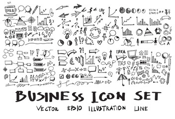 Business Doodle Sketch line vector set eps10