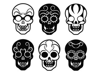 Black mexican skull icons. Vector decorative ornate skulls isolated on white