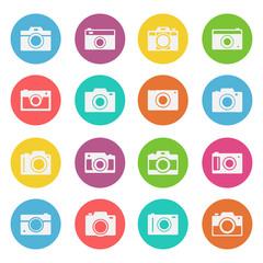 Camera icon flat style set