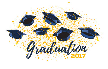 Vector illustration of graduate caps and confetti on a white background. Caps thrown up. Congratulation graduates 2017 class of graduations.