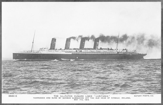 Lusitania in 1908. Date: Launched 1906  sunk 1915