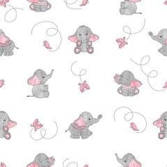 Cute cartoon elephants and butterflies seamless vector pattern. Baby print.