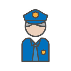 Police and security people avatar icon on white background