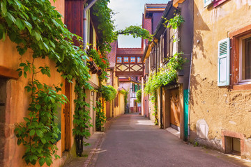 Picturesque street in Kaysersberg, Alsace, France Wall mural