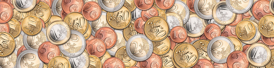 panorama banner of euro coins currency finance background / Euro münzen hintergrund finanzen