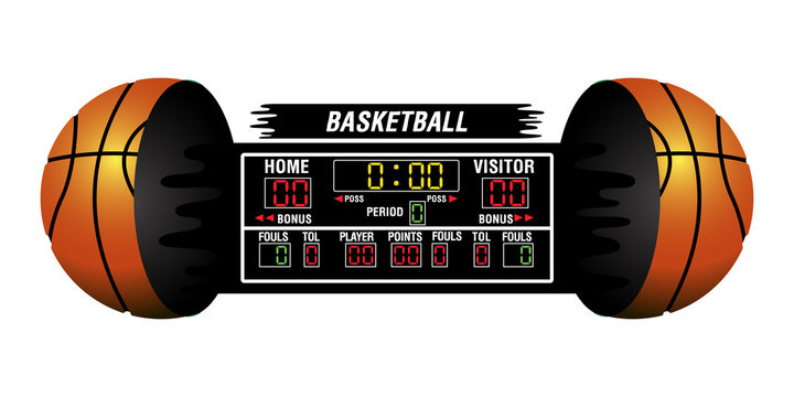 Isolated basketball scoreboard