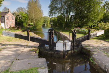 Poster Kanaal Lock Gates on the Shropshire Union Canal in England