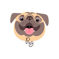 Happy pug. Portrait of a cheerful dog in cartoon style