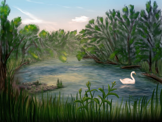 Idyllic scenery with a swan swimming in a river