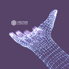 Human Arm. Hand Model. Connection structure. Future technology concept. 3D Vector illustration.