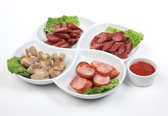 chopped sausages