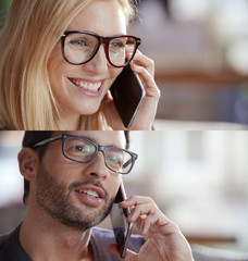 casual blonde woman and man set,businesswoman, businessman talking by smartphone. Technology use portrait at home or office. Smiling caucasian professional relaxed positive adult people with glasses