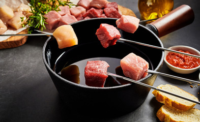 Assorted fresh lean meat ready for a fondue