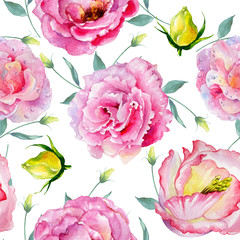 Wildflower rose pattern flower in a watercolor style isolated. Full name of the plant: rose. Aquarelle wild flower for background, texture, wrapper pattern, frame or border.